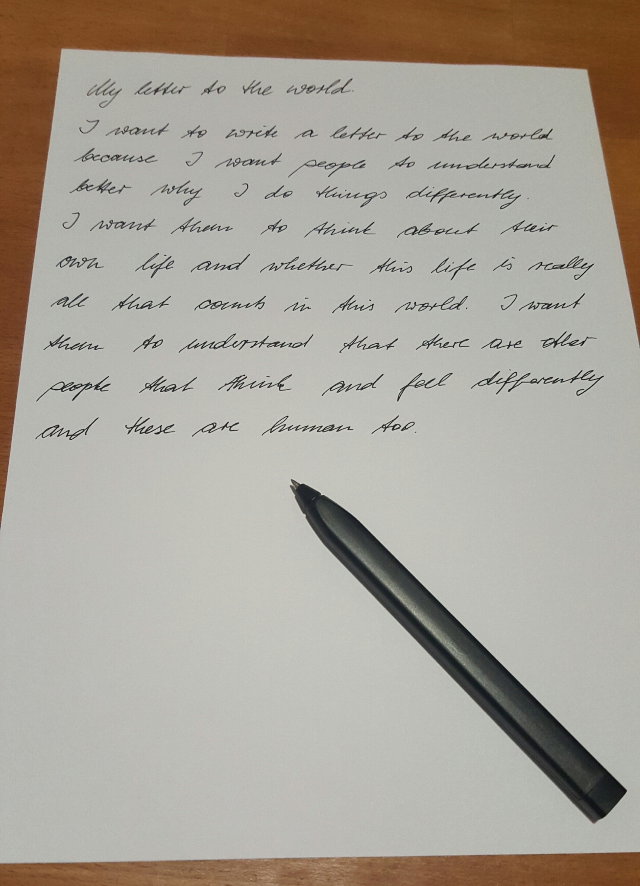Update to the letters to the world from a client diagnosed with